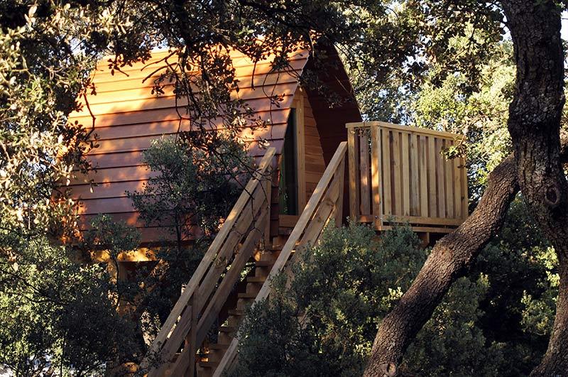 camping con cabañas en los árboles